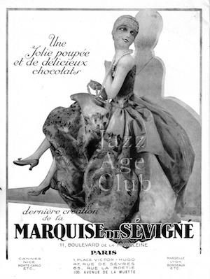 An advert for Marquise de Sevigne chocolate and a Jolie Poupee, Paris, 1920s