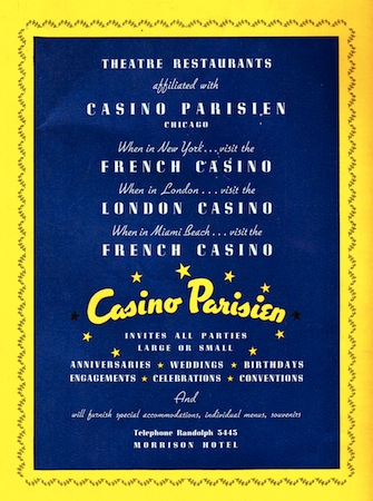 Advert for the Casino Parisienne, Chicago