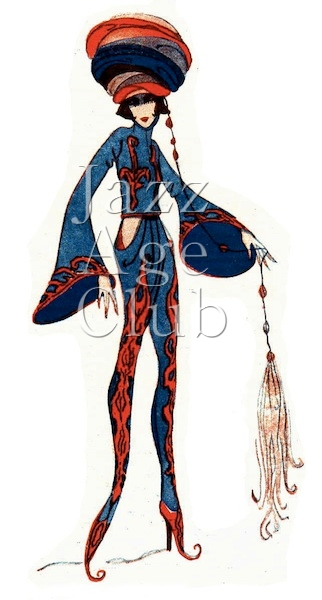 Dolly Tree's costume sketch for the Persian Carpet scene in Julian Wylie's The Peepshow at the London Hippodrome, 1921