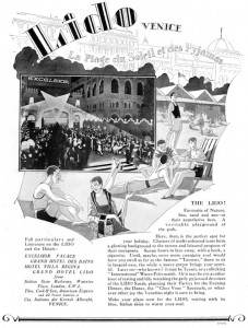 Advert for the attractions of the Lido, Venice featuring the Hotel Excelsior, 1927
