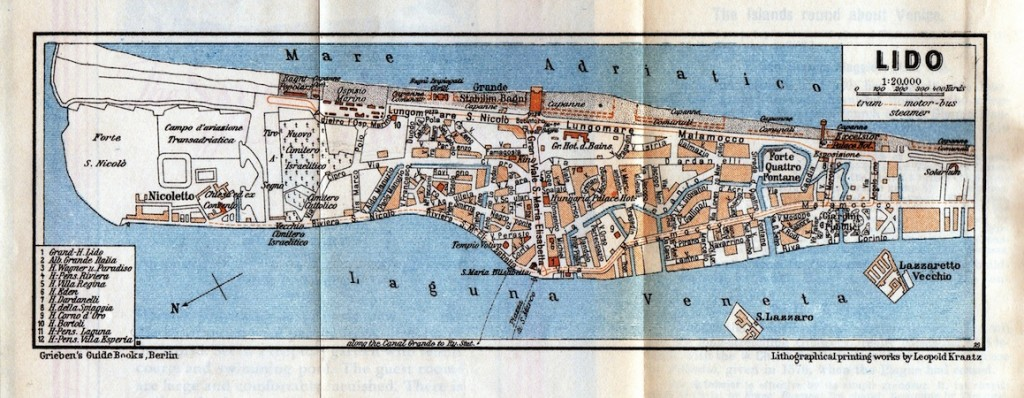 A map of the Lido, Venice, 1920s