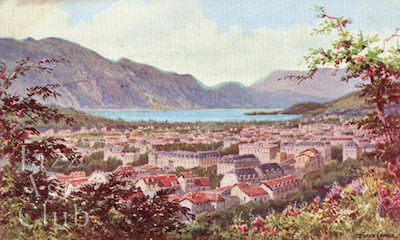 A view of Aix Le Bains, toward Lac du Bourget, 1920s