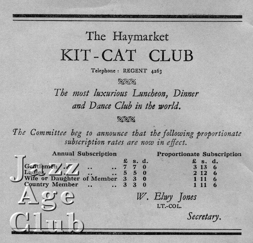 Advert for Kit Cat Club in the Haymarket, London, 1920s