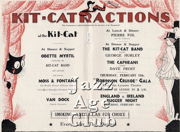 Internal of programme for the Kit Cat Restaurant in the Haymarket, London, 1931