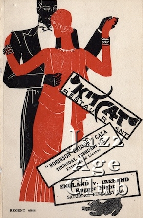 Programme cover for the Kit Cat Restaurant in the Haymarket, London, 1931