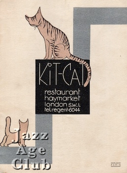 Programme cover for the Kit Cat Restaurant in the Haymarket, London, 1927