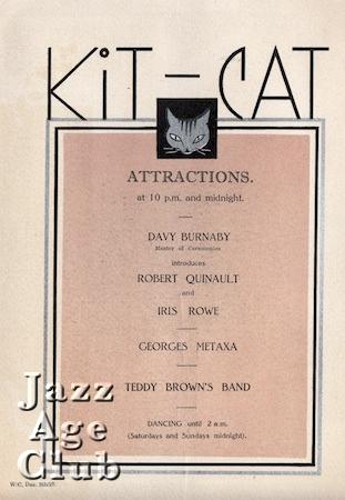 Internal of programme for the Kit Cat Restaurant in the Haymarket, London, 1927
