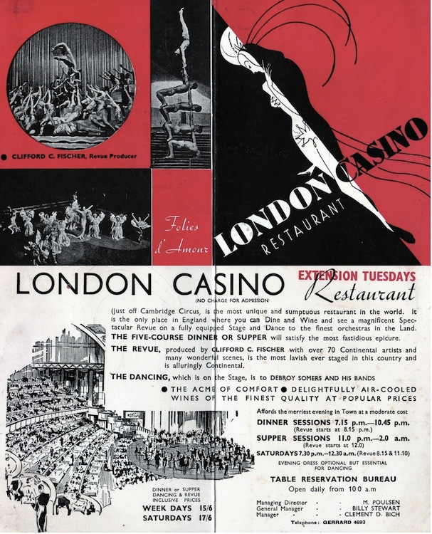 An advert card for the London Casino