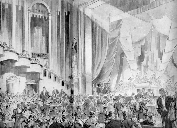 The interior of the London Casino showing a show in progress