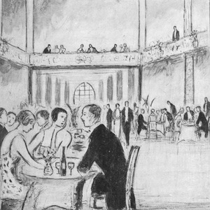A sketch of the interior of Ciro's restaurant, London, early 1920s