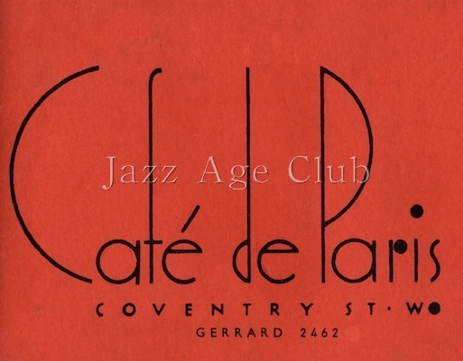 Front of programme for Cafe de Paris, 1930s