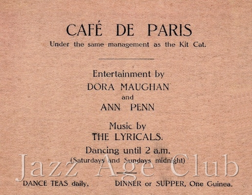 Advert for the cafe de Paris, late 1920s