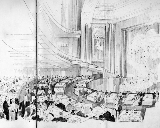 A sketch of the interior of the French Casino, New York, with the audience and show in progress