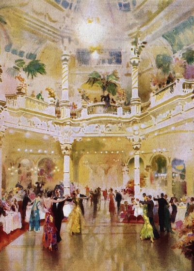 An impression of the interior of Frascati restaurant with dancers, London