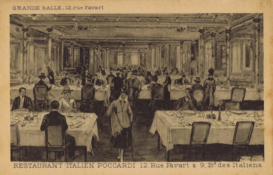 The main dining room of Poccardi restaurant, Paris