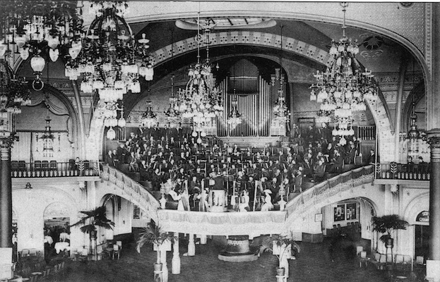 An interior view of the concert hall in the Kursaal, Ostend
