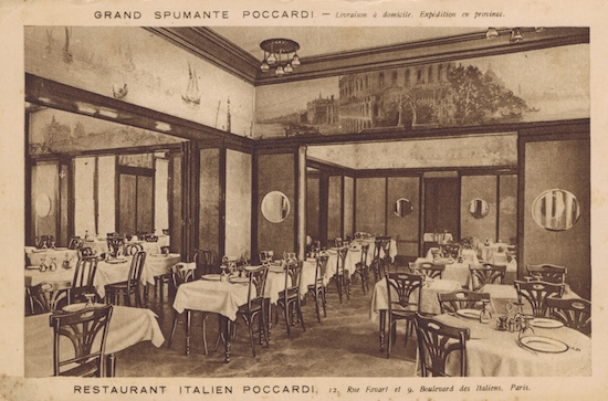 An interior view of one of the dining rooms at Poccardi