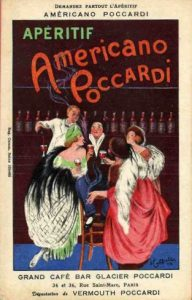 An advert for Poccardi restaurant, Paris
