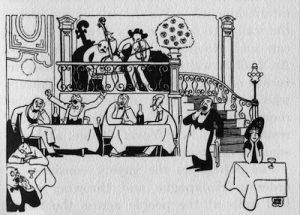 A sketch of the interior of Maxim's restaurant, Paris (1914)