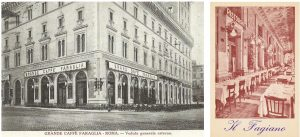 Left: The exterior of Caffe Faraglia. Right: Ristorante Fagiano, Rome