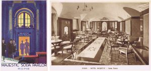 Left: Entrance to the Soda Parlour at the Majestic Hotel Right: interior of the Soda Parlour, Rome, 1920s