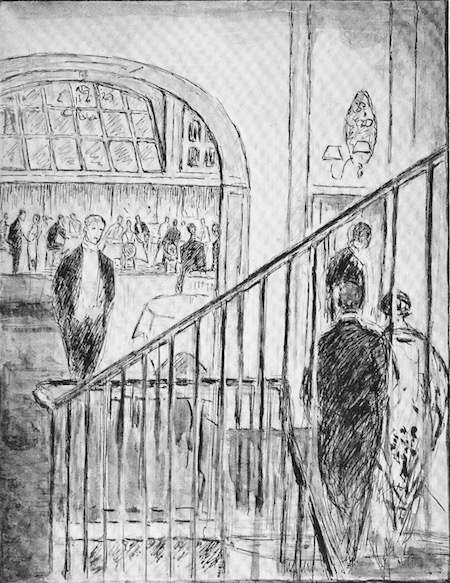 A sketch of the interior of Chez Victor's, London, 1926