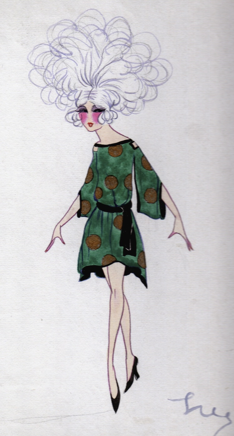 Dolly Tree's costume design for the O Ma Gaby scene in the 1923 En Pleine Folie show at the Folies Bergere, Paris
