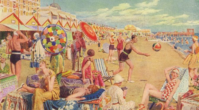 The beach in front of the Excelsior Hotel at the Lido, Venice