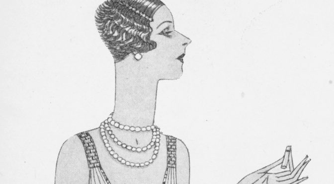 A section from a sketch of a Buckmaster gown in Eve magazine, March 1927