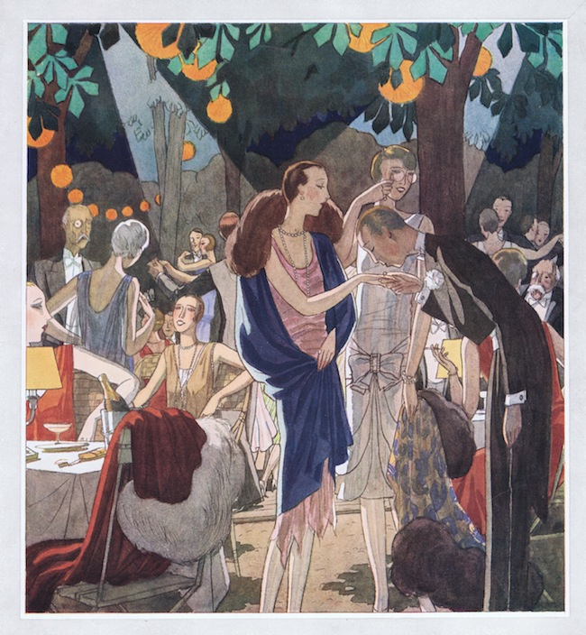 A sketch of dining outdoors at the Chateau de Madrid, 1920s