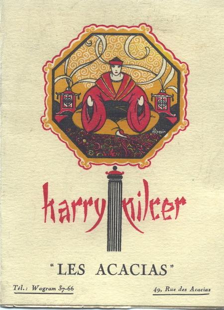 The programme cover for Harry Pilcer's Acacias nightclub, Paris, 1920s