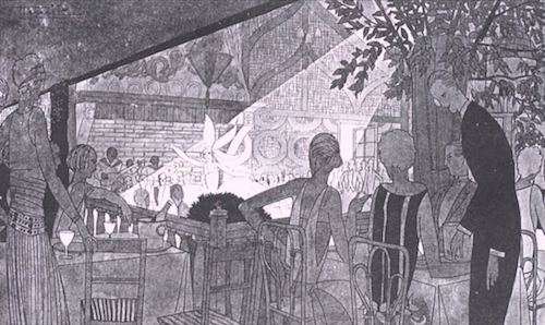 A sketch of the garden at the Acacias Nightclub in the summer of 1922 with the dancing of Jenny Dolly