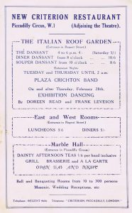 An advert for the Criterion Restaurant, 1920s, featuring the Italian Roof Garden, East and West Rooms and the Marble Hall