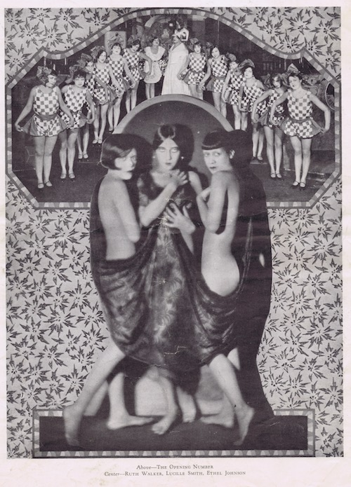 Two images from the Club Alabam cabaret show, New York, in 1926. Above the Opening number and main portrait of Ruth Walker, Lucille Smith and Ethel Johnson