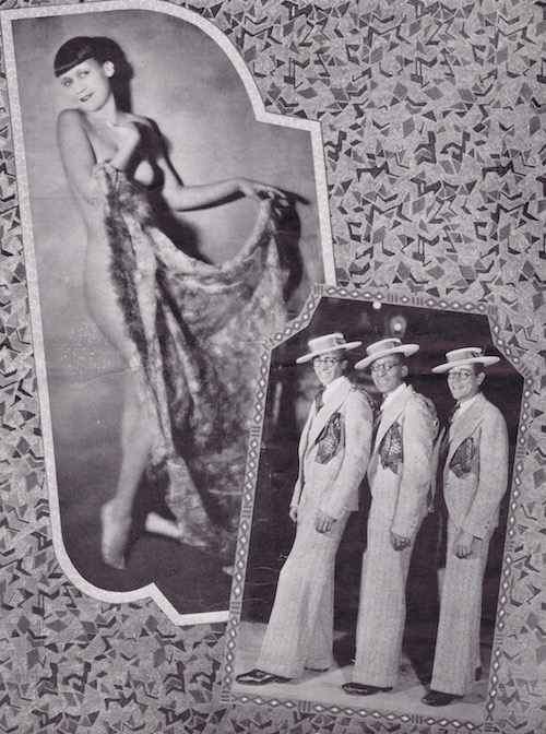 Two images from the Club Alabam cabaret show, New York, in 1926. On the left is Lucile Smith. The three male performers may be Jimmie and Eddie White and George Stamper