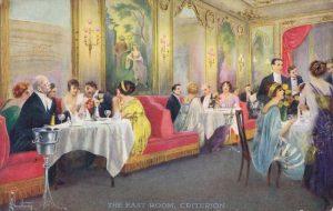 An artist impression of the East Room at the Criterion Restaurant, 1920s