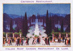 An artist impression of the interior of the Italian Roof Garden at the Criterion Restaurant showing the Italian murals