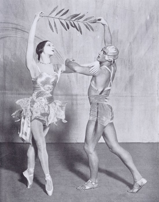 A scene from the 1928 Anton Dolin ballet 'Revolution' showing Anton Dolin representing 'The Spirit of Insurrection' and Vera Nemchinova as ' The Spirit of Peace'
