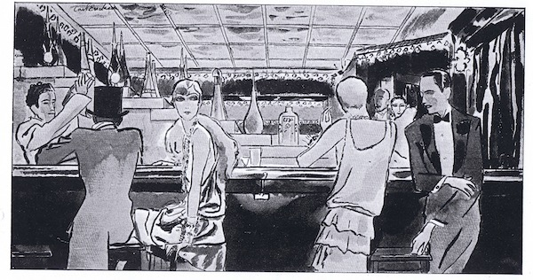 A sketch of the bar at the Grand Ecart, Paris, 1927