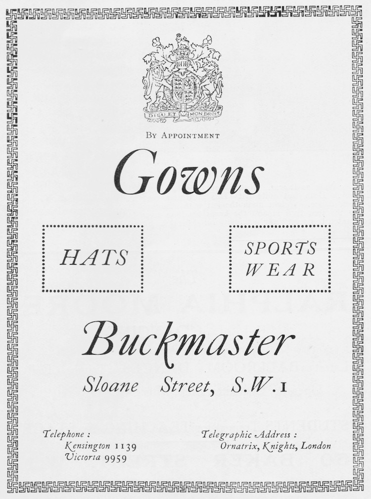 Advert for the London couture establishment of Buckmaster, 1926