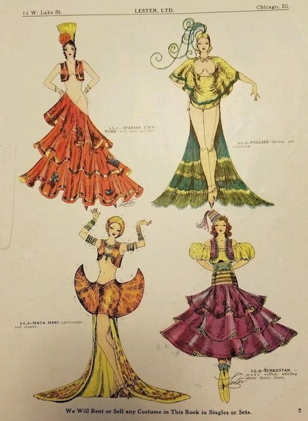 A page from Lester's costume magazine, 1935