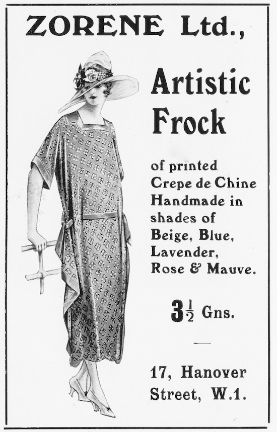 Advert for the London couture house of Zorene Ltd, 1922