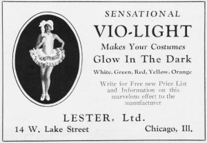 Advert for Lester's creation of Vi0-Light making costumes glow in the dark, 1929