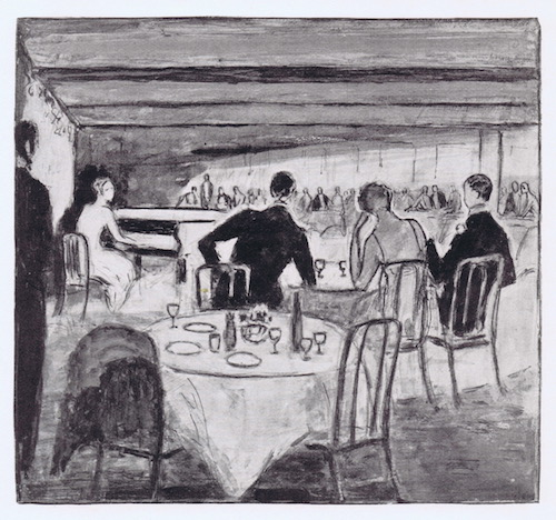 A sketch of the interior of Chez Henri, London, 1920s with a cabaret performance of a singer at the piano