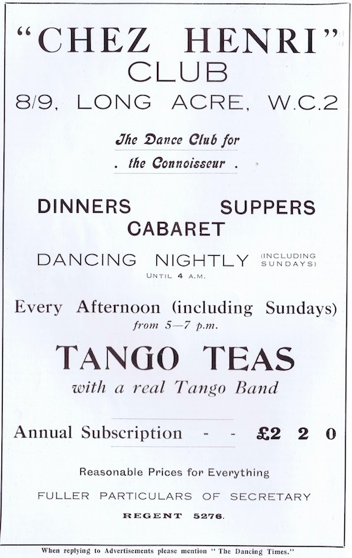 Advert for Chez Henri, London, 1920s