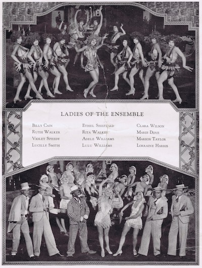 A page from the programme or brochure from the Club Alabam cabaret show, New York, in 1926 detailing the names of the ladies of the ensemble and showing two scenes: at the top the Banana Isle number