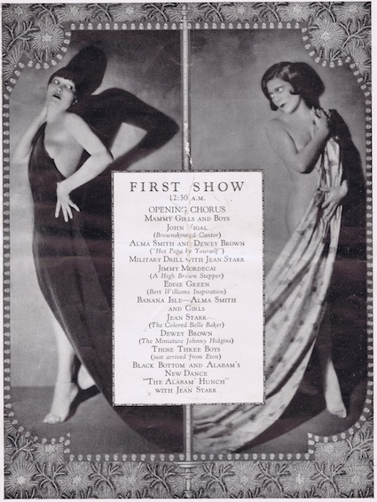 A page from the programme or brochure from the Club Alabam cabaret show, New York, in 1926 that details the numbers in the First Show from 12.30am