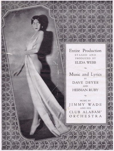 A page from the programme or brochure from the Club Alabam cabaret show, New York, in 1926.