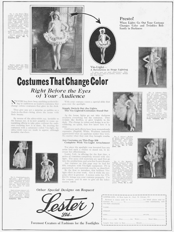 Advert for Costumes that Change Colour from Lester Ltd, 1926