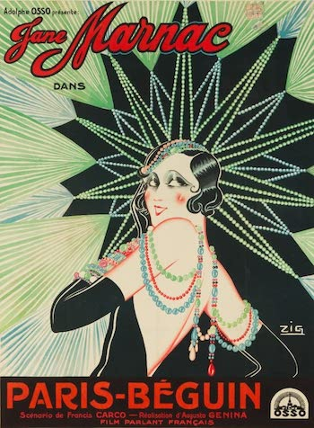 A design by Zig for Jane Marnac in the film Paris-Beguin (1931)